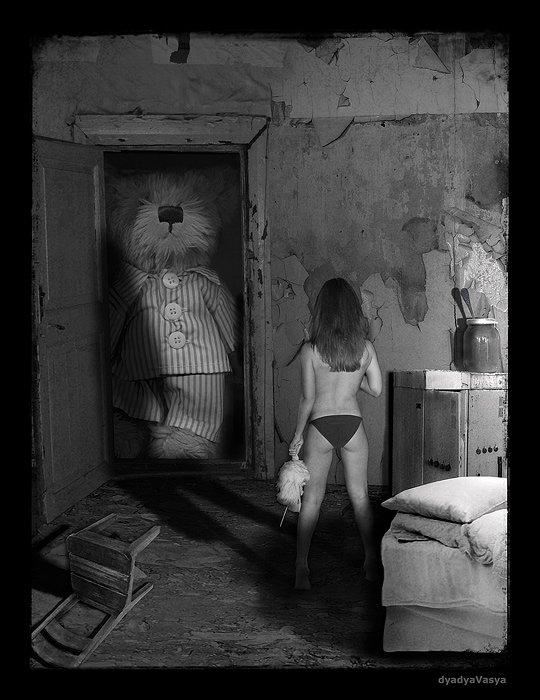 девочка, медведь, сказка, игрушка, мёд, банка, ложка, стул, кровать, постель, подушка, темнота, свет, текстура, стена, дверь, dyadyavasya, dyadyaVasya