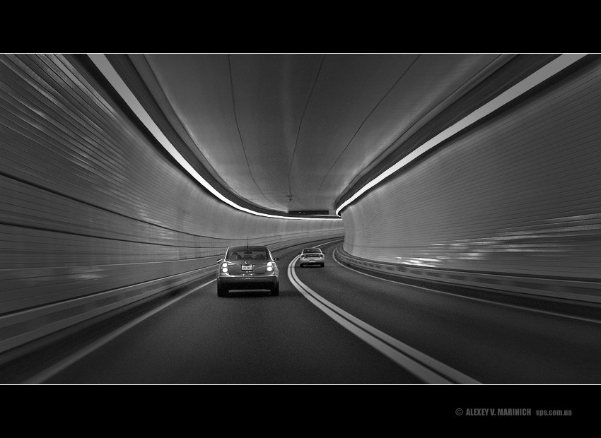 лабиринт, трасса, туннель, дорога, машина, движение, скорость, динамика, водитель, чб, сша, америка, вашингтон, лето, жанр, фото, маринич, алексей, alexey, marinich, Alexey Marinich