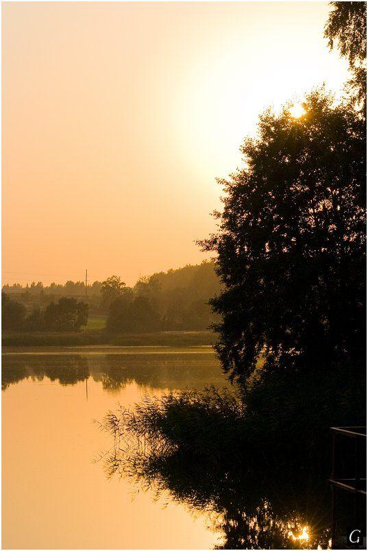 персиковые, тона, талашкино, свет, закат, пруд, дымка, солнце, вечер, Gorshkov Igor_Feanorus
