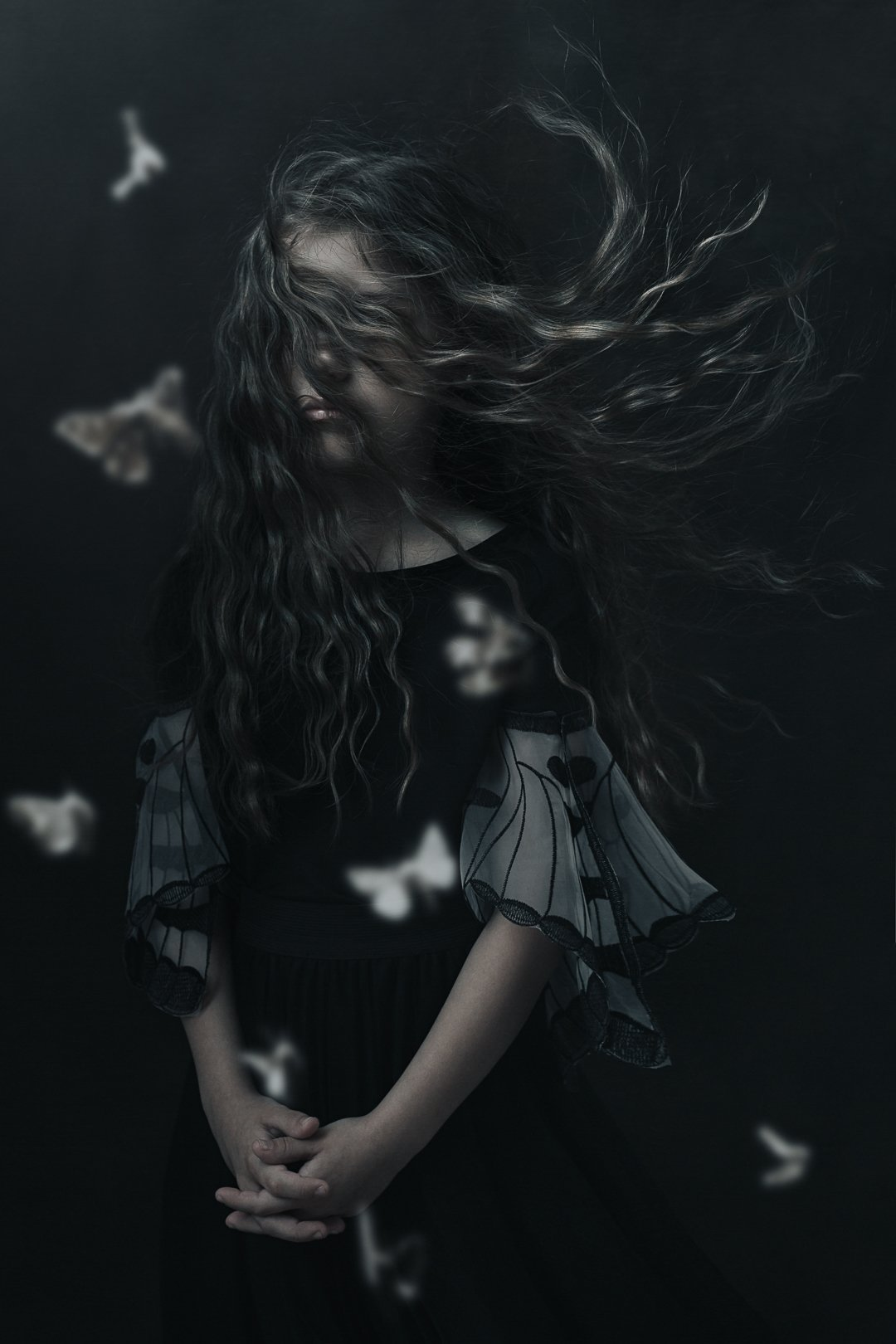 девочка портрет кудри волосы girl portrait hair moths moth butterfly бабочки мотылёк, Баласюк Вероника