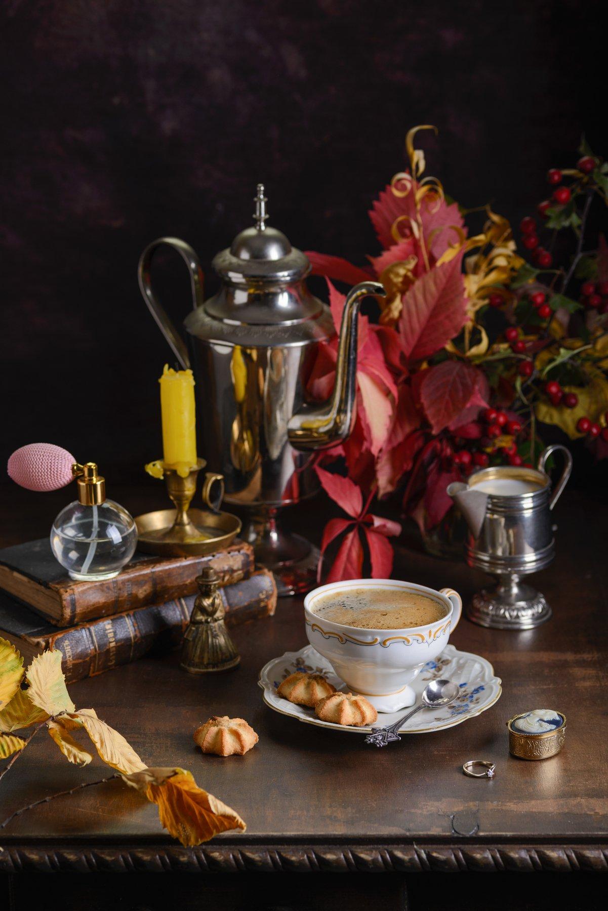 осень, кофе, листья, fashionfoodfoto