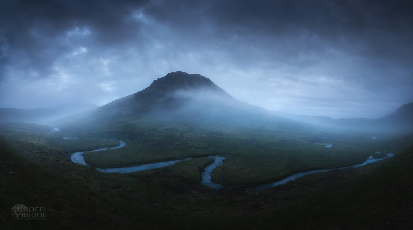 iceland,mountain,summer,night,fog,foggy,dark,nature,landscape,, Szatewicz Adrian