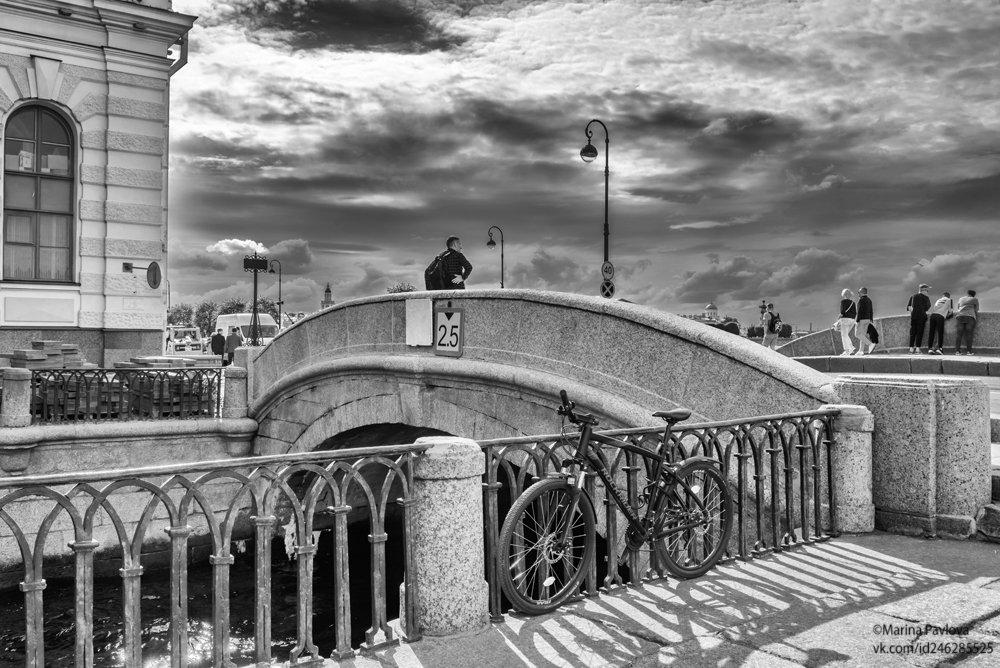 город, петербург, зимний мост, зимняя канавка, чёрно-белое фото, чб. фото, стрит фото, Павлова Марина