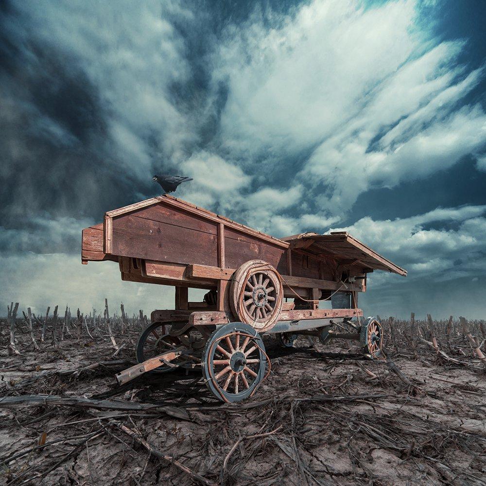 crow, car, cart, psd, tutorials, manipulation, sky, dramatic, clouds, light, shinning, shadow, alone, dray, field, tulips, old, Caras Ionut