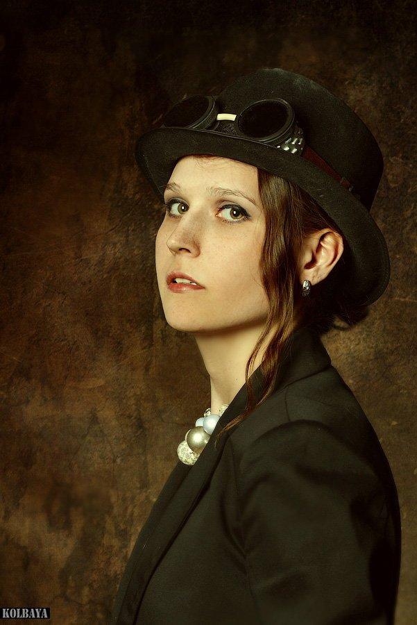 portrait, girl, hat, goggles, Колбая Александр