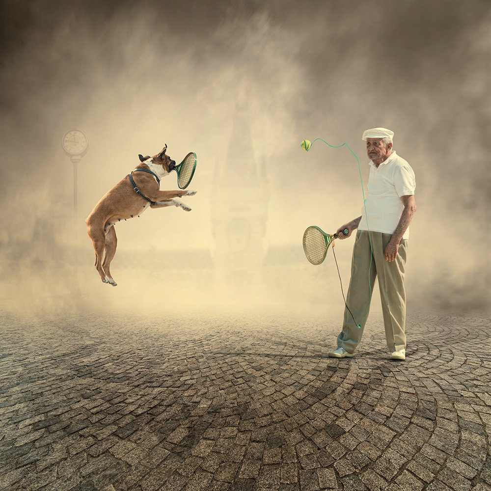 ball, castle, clock, dog, fog, game, girl, ground, jump, light, man, manipulation, maya, old, photoshop, play, pole, psd, stone, tennis, tie, tutorials, Caras Ionut