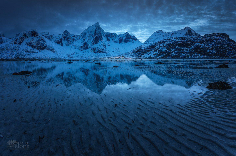 lofoten,flakstadpollen,blue hour,mountains,winter,reflections,, Szatewicz Adrian