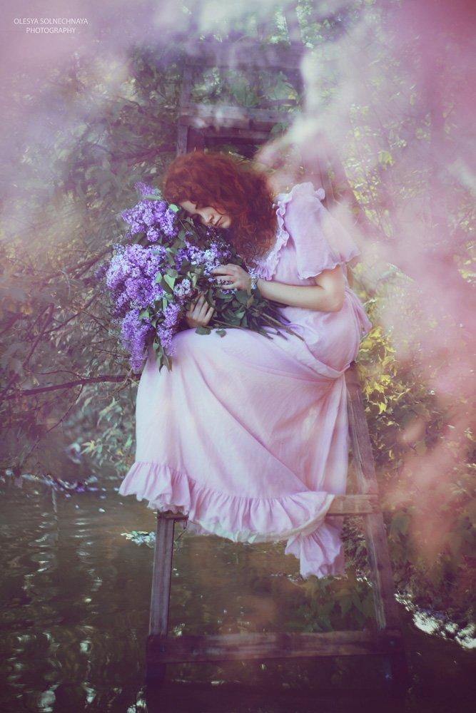 дым, сирень, фея, лестница, вода, пруд, розовый, сон, Олеся Солнечная