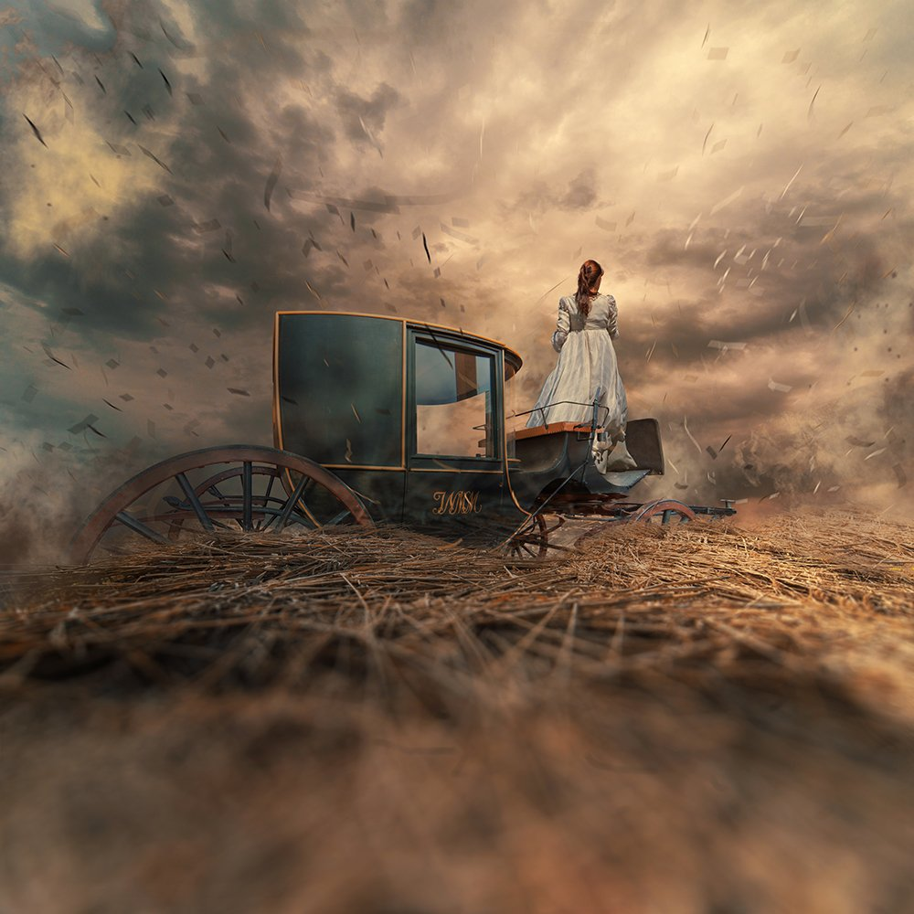 blowing, cart, clouds, drama, fashion, field, gilr, harmony, light, manipulation, miller, mounting, old, photoshop, psd, strong, treasure, tree, tutorials, walking, wheat, wind, yellow, Caras Ionut