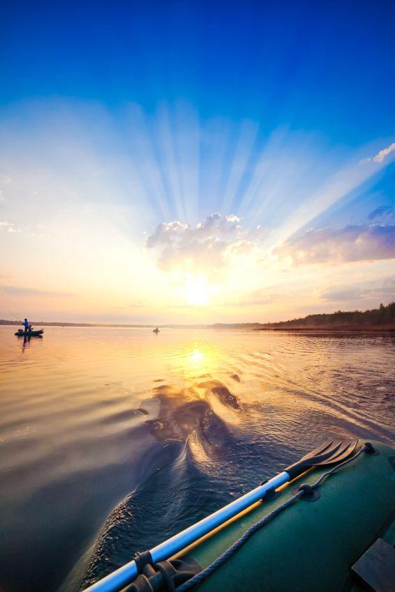 fishing, sun, water, boat, lake, sunlight, lithuania, Artiom