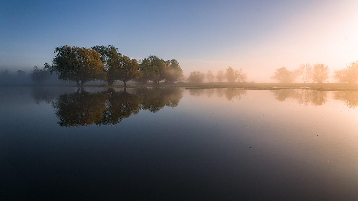 астрахань, утро, река, вода,зеркало,рассвет, Пеккер Сергей