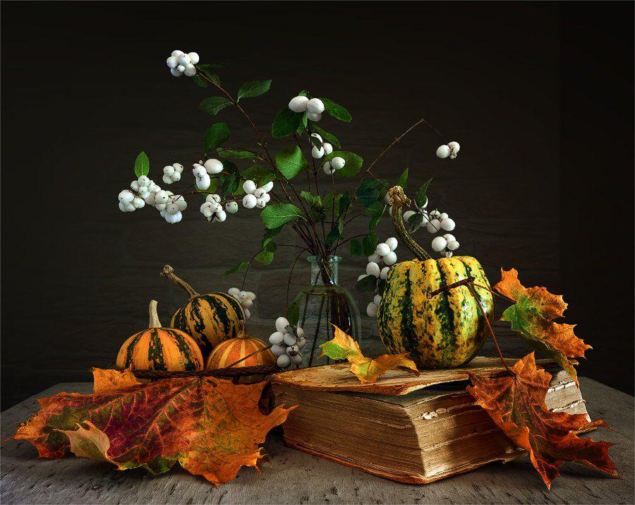 still life, натюрморт,    винтаж,    тыква, еда, снежноягодник, ягода, книга, листья, осень, Шерман Михаил