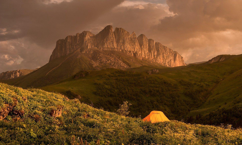 вечер, перед, дождем, ачешбок, палатка, ФЁДОР