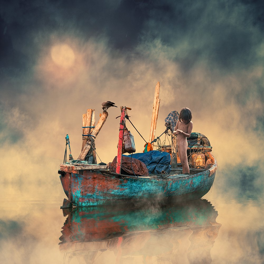 boar, clouds, fish, fisherman, fishing, gem, gold, manipulation, photoshop, psd, reflection, sky, tutorials, water, bird, boat, can, crow, girl, line, red, tire, wood, Caras Ionut