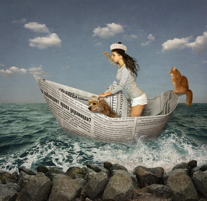 бумажный кораблик, кот, пёс, юмор, Iridi (Ирина Кузнецова)
