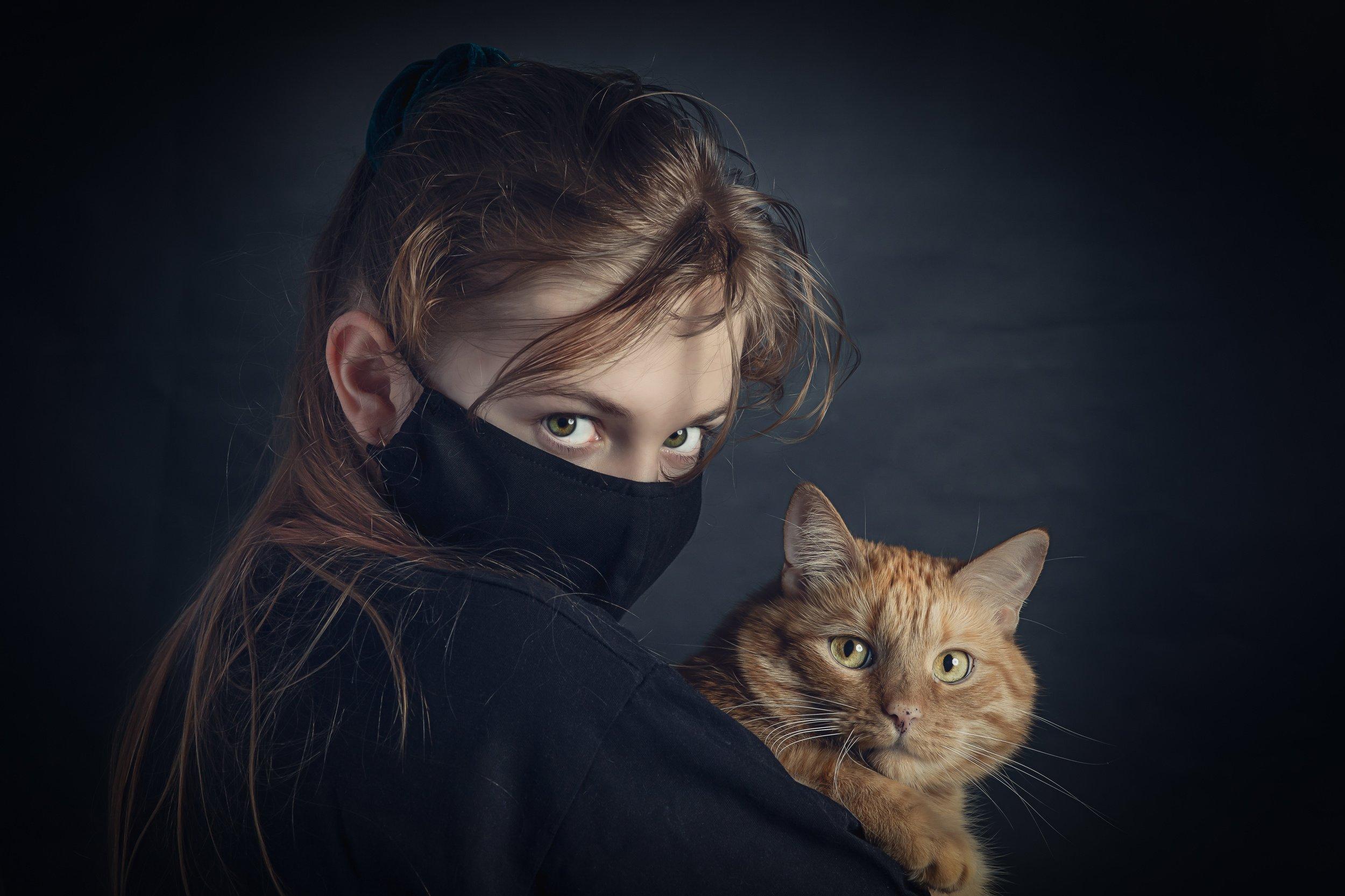 кот, кошка, девочка, маска, глаза, Сизиков Николай
