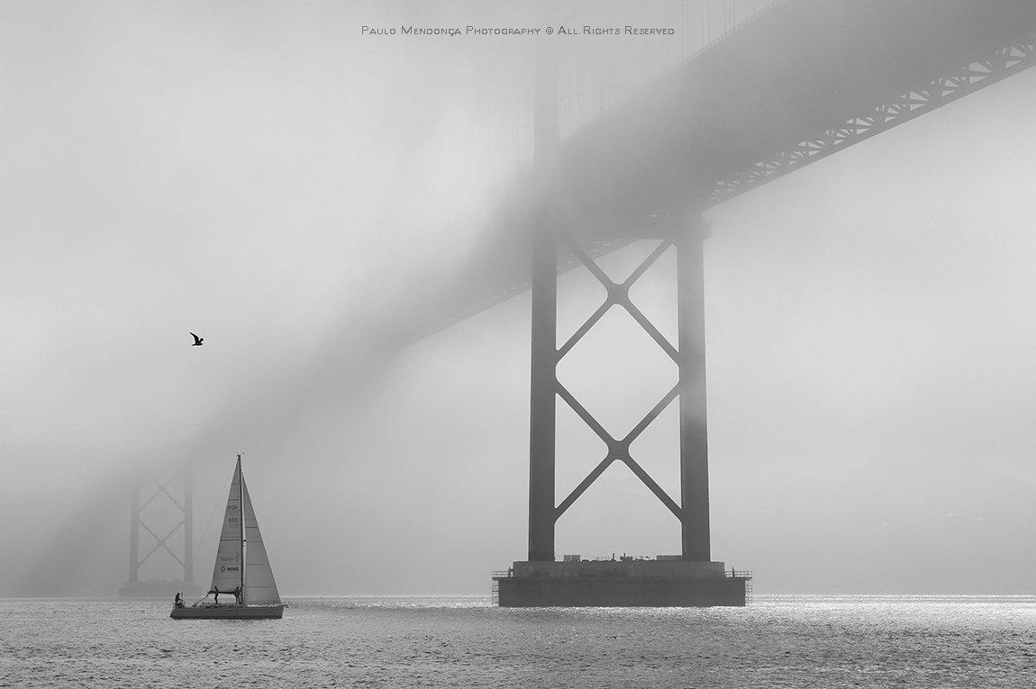 Bridge, Fog, Lisbon, Mist, Portugal, River, Sailboat, Paulo Mendonça
