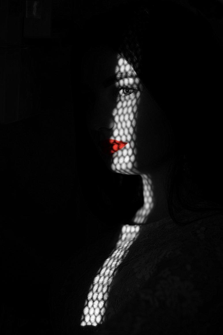 модель, чб, чернобелое, свет, тень, губы, помада, красный, Алабердов Арсен