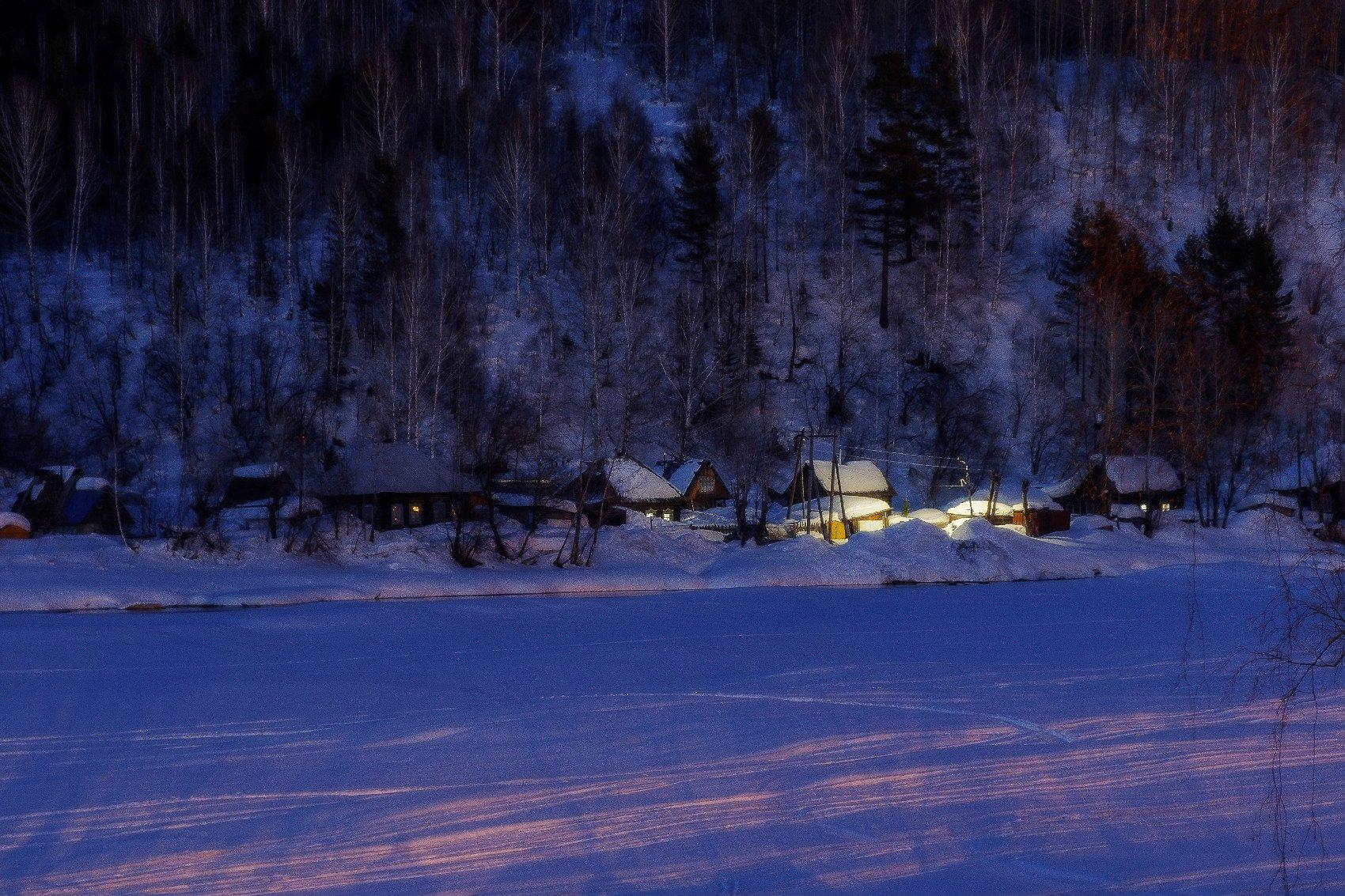 пейзаж, ночь, река, свет, зима , Потапов Александр