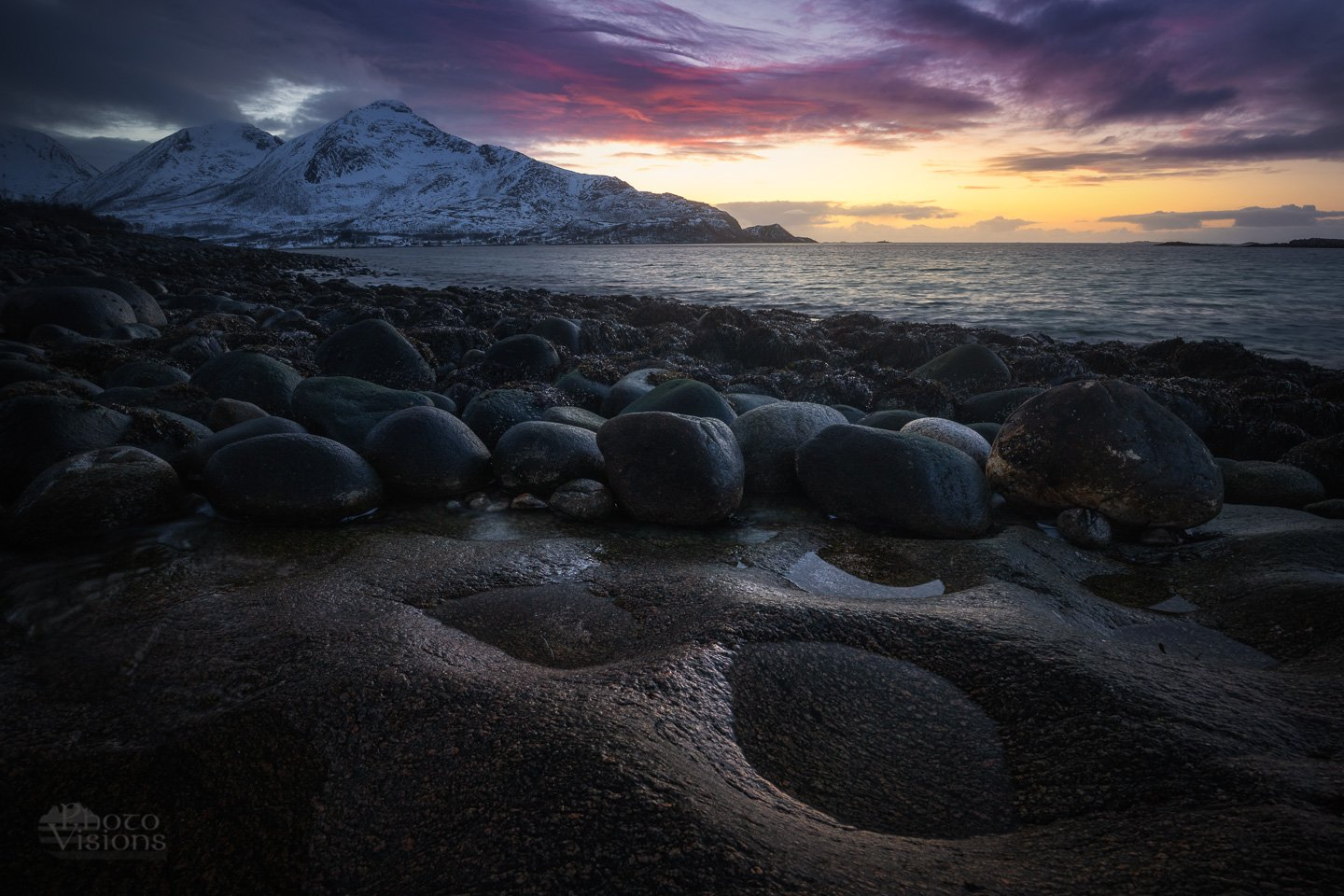norway,seascape,sea,north,northern,arctic,sunset,night,moody,rocks,stones,, Szatewicz Adrian