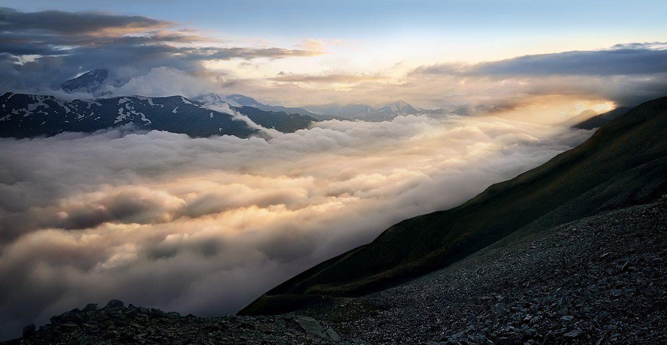 приэльбрусье, река, облака, Сергей Хромов