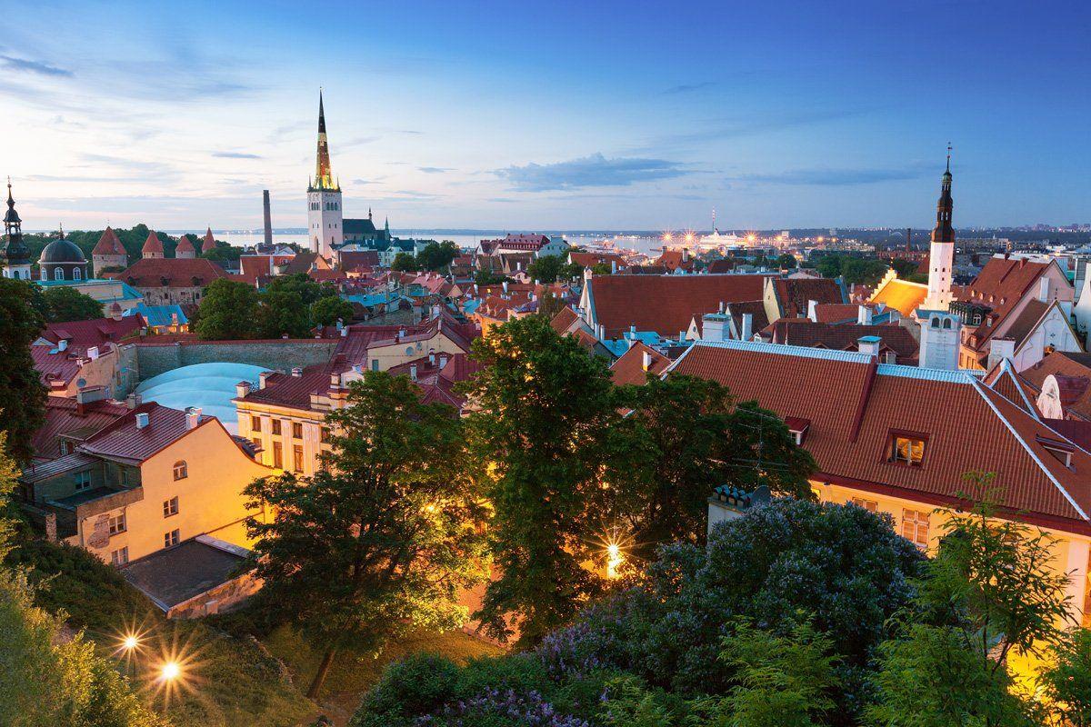 Вечер, Вечерний город, Город, Городской пейзаж, Европа, Старый город, Таллинн, Эстония, Дара Пилюгина