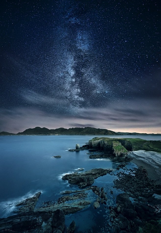 Astrophotography, Atlantic Ocean, Co. Donegal, Colors, Dark, Ireland, Long exposure, Milky way, Mountains, Night, Night sky, Rocks, Stars, Stones, Marius Kasteckas