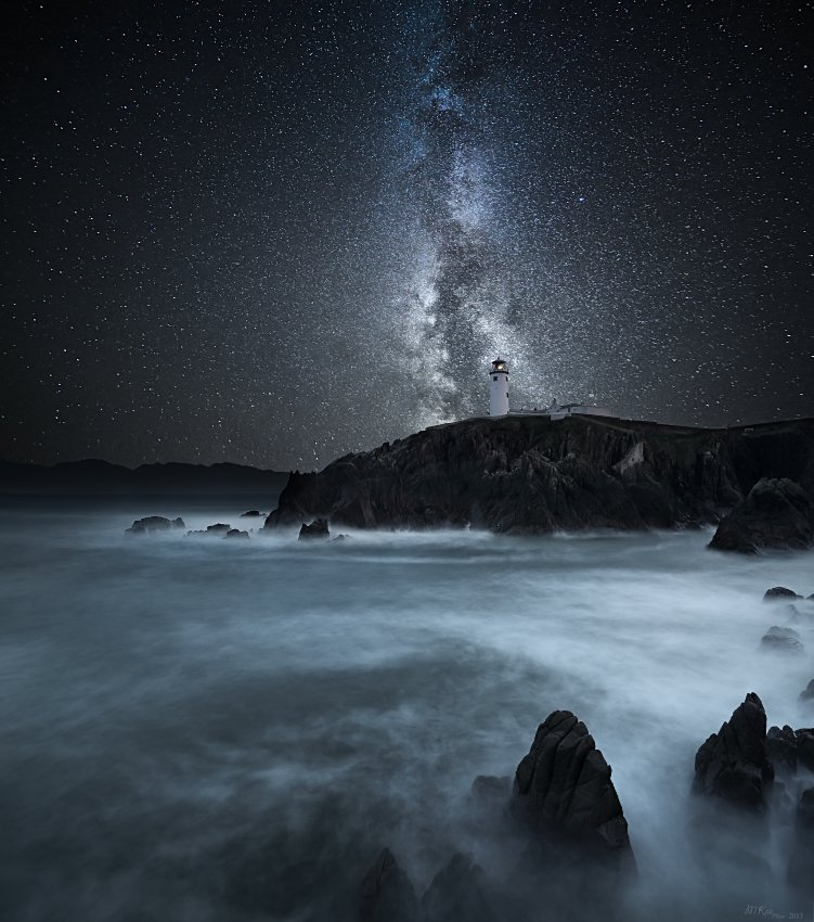 Astrophotography, Atlantic Ocean, Co. Donegal, Ireland, Lighthouse, Long exposure, Milky way, Night, Night sky, Rocks, Stars, Marius Kasteckas