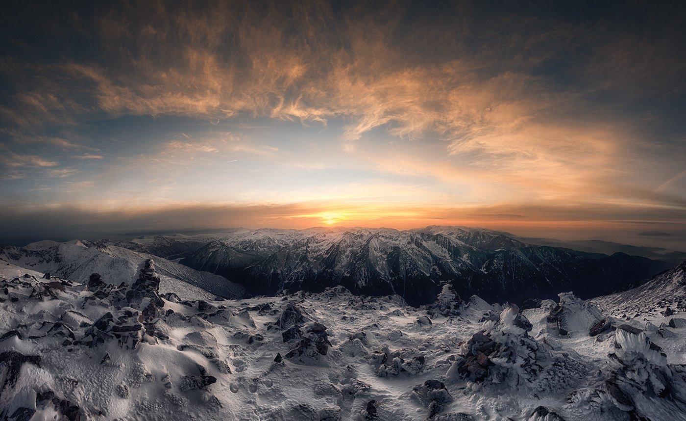 Болгария, Горы, Закат, Облака, Снег, Krasi Matarov