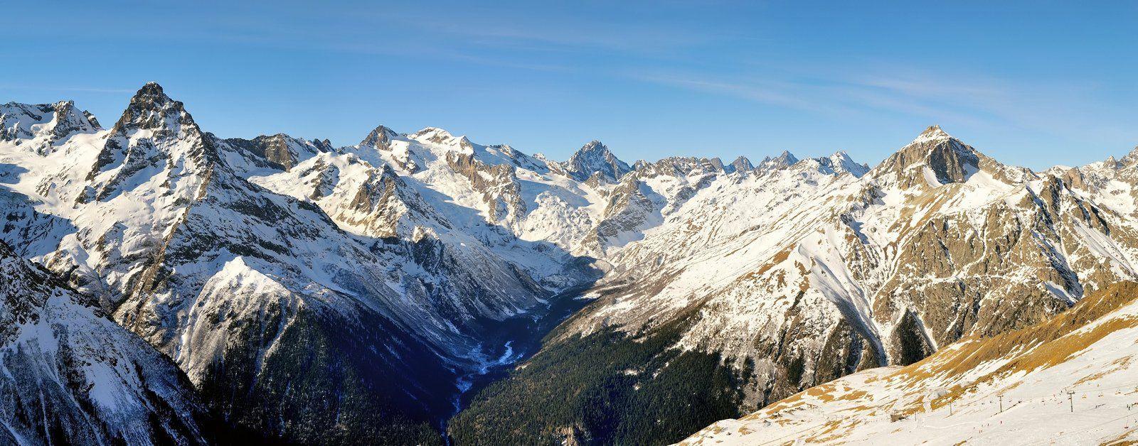 горы, домбай, алибек, зима, курорт, панорама, Serj Master