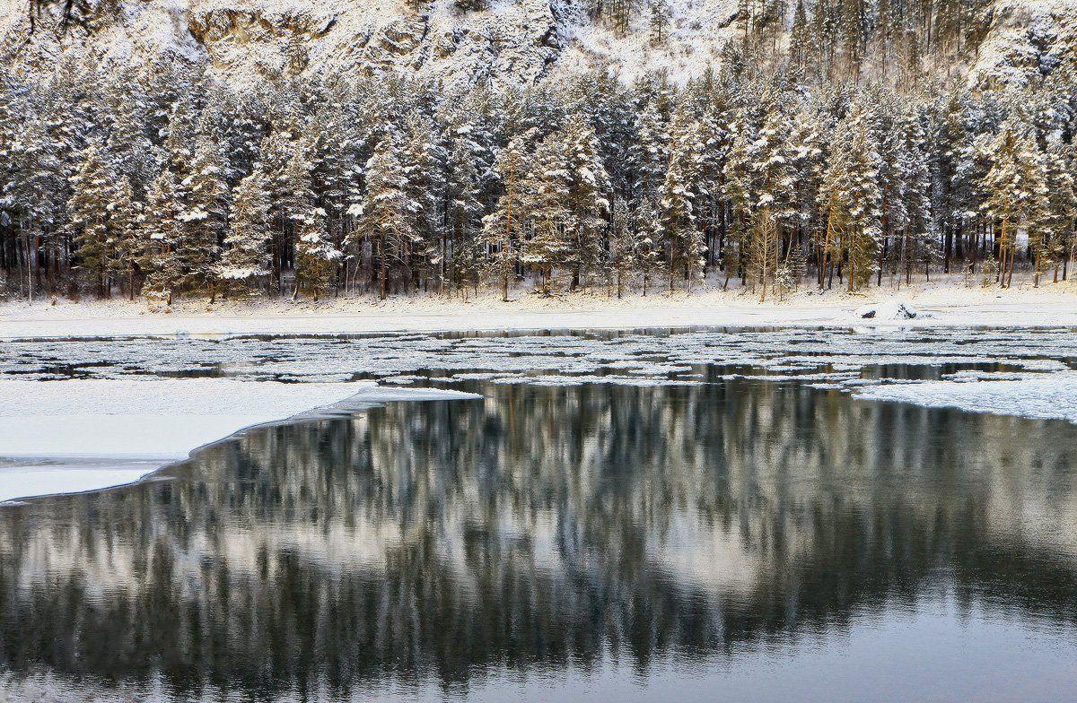 катунь, зима, отражение, алтай, горный алтай, Галина Хвостенко