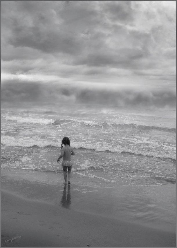 море, ребенок, lampadina