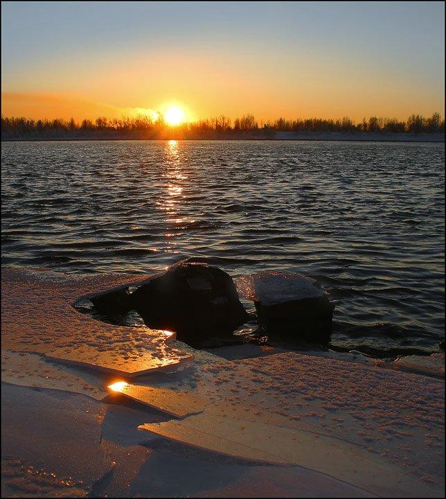 солнце,река,закат, Неместный