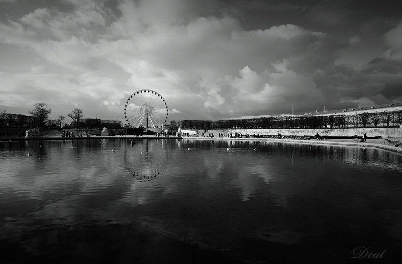 франция, париж, тюльрьи, вид, колесо, обозрения, облака, Darn Cat