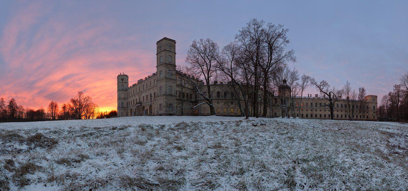 гатчина, гатчинский дворец, утро, рассвет, зима, снег, Alex Darkside