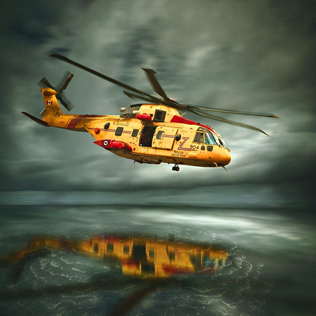Helicopter, Rescue, Sea, Sky, Storm, Artur Brandys