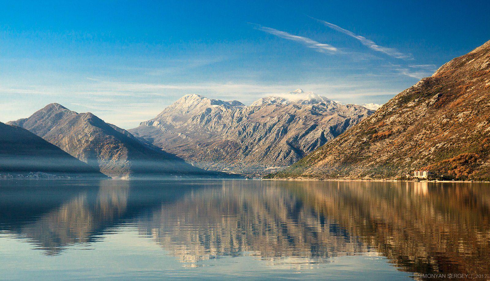 Горы, Европа, Море, Облака, Снег, Черногория, Симонян Сергей