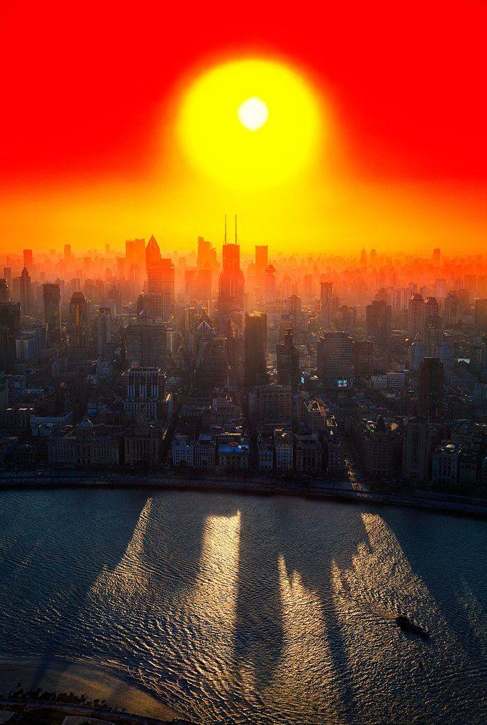 City, Вечер, Город, Закат, Китай, Мегаполис, Небоскреб, Оранжевый, Свет, Солнце, Фильтр, Шанхай, Бирюков Юрий