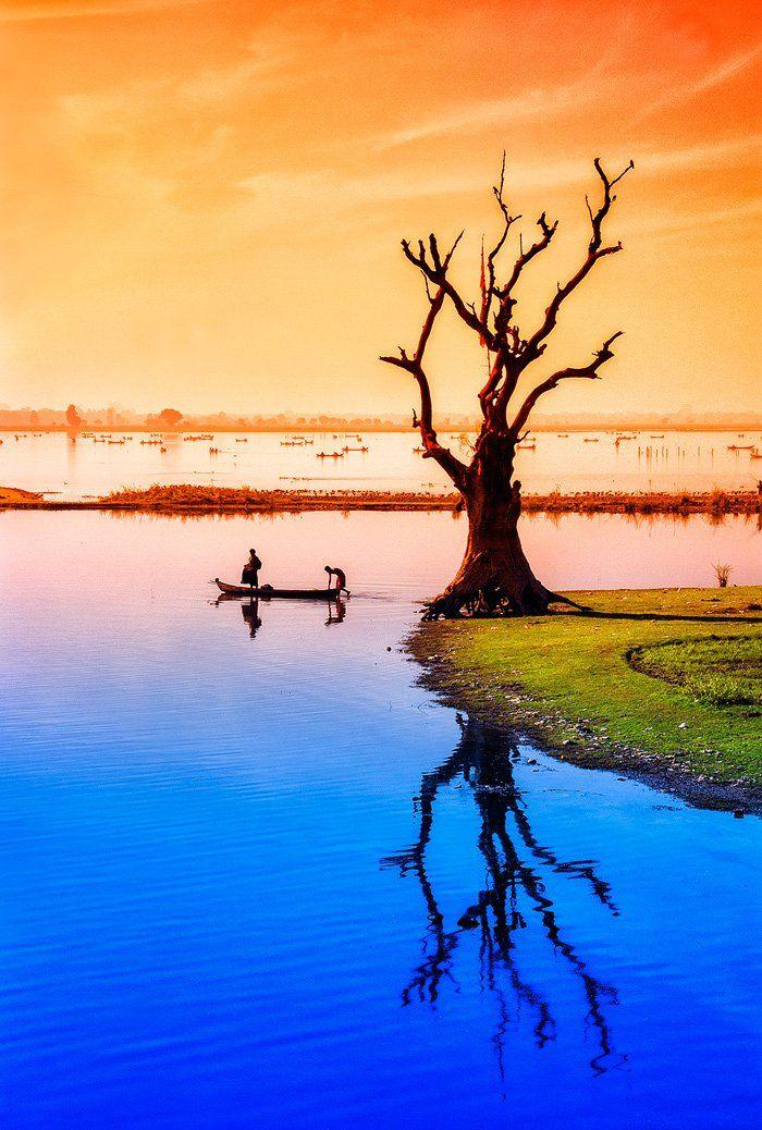 Амарапура, Бирма, Вода, Дерево, Лодка, Мьянма, Озеро, Рыбак, Бирюков Юрий