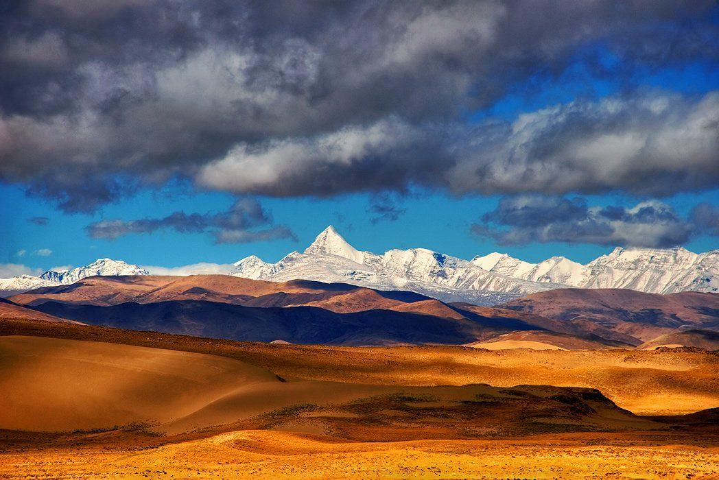 азия, гималаи, горы, дюны, китай, облака, песок, тибет, Бирюков Юрий