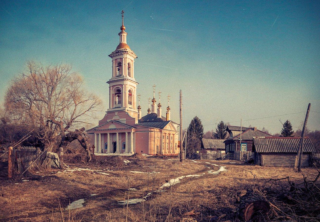 Весна, Деревня, Коллаж, Пейзаж, Храм, Dmitry Postnikov