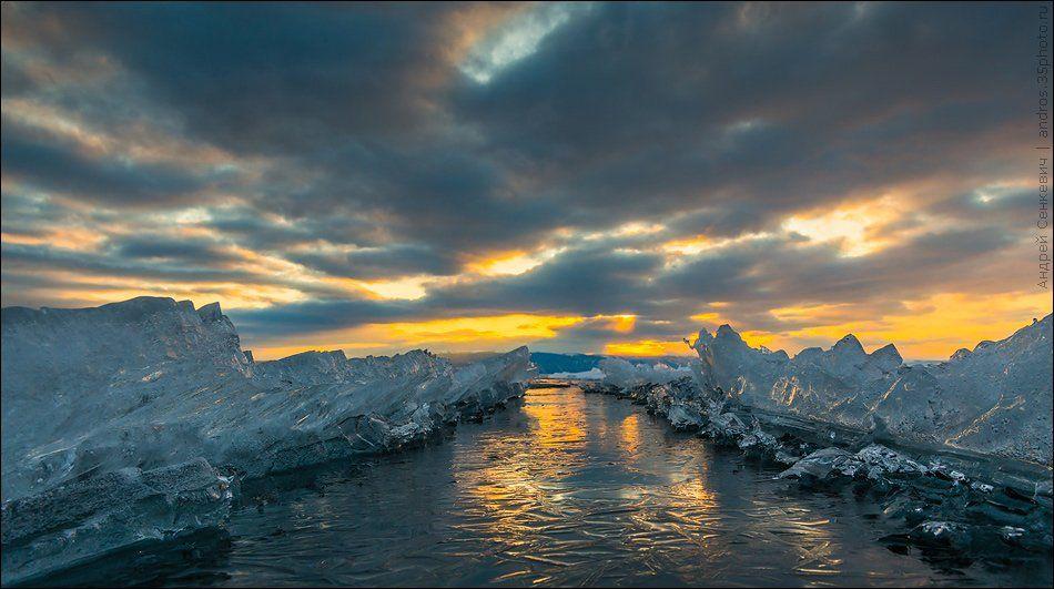 байкал, вода, закат, лед, Andrew Senkevich