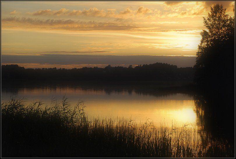 пейзаж, закат, озеро валдай, Юлия