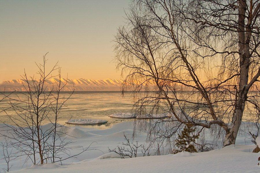 бурятия, байкал, зима, лед, мыс, святой нос, деревья, Олег Шубаров