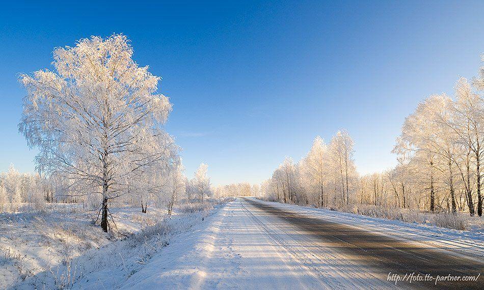 зима, мороз, дорога, деревья, иней, снег, Partner (Андрей Алексеев)