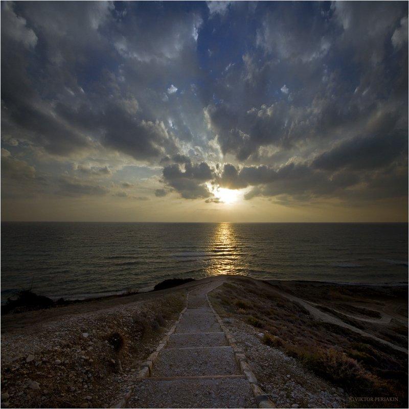 кипр, море, дороги, берег, закат, Виктор Перякин
