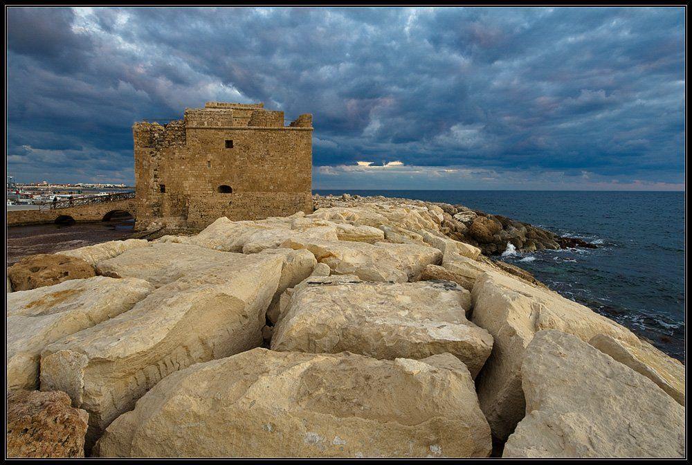 кипр,море,вечер,пейзаж,природа,камни,скалы,пляж,форт,,пафос,панорама, Александр Константинов
