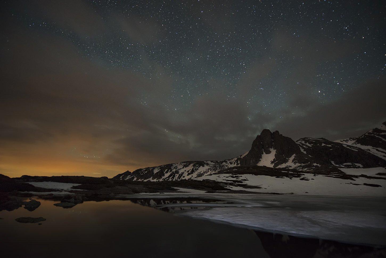Болгария, Горы, Звезды, Зима, Ночь, Облака, Рила, Снег, Краси Матаров