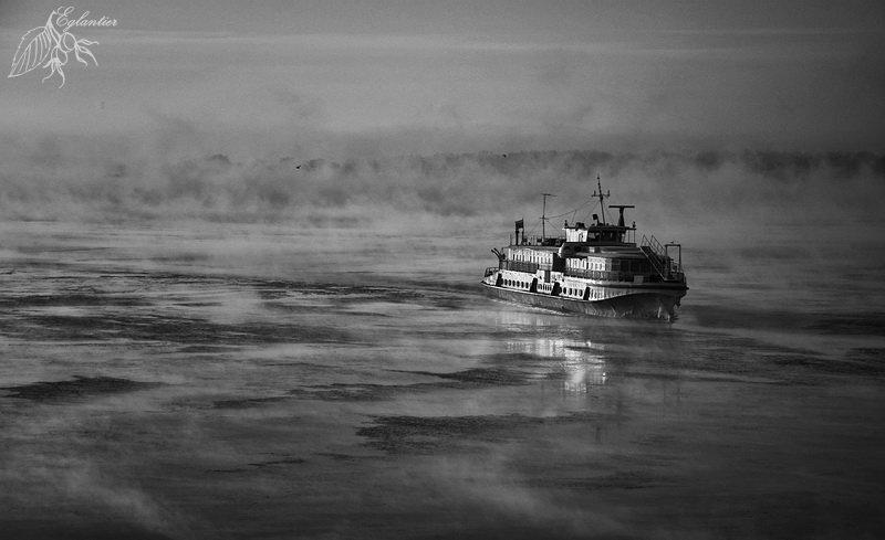 волга, утро, мороз, туман, лед, вода, паром, ом-152, Ольга Глушкова
