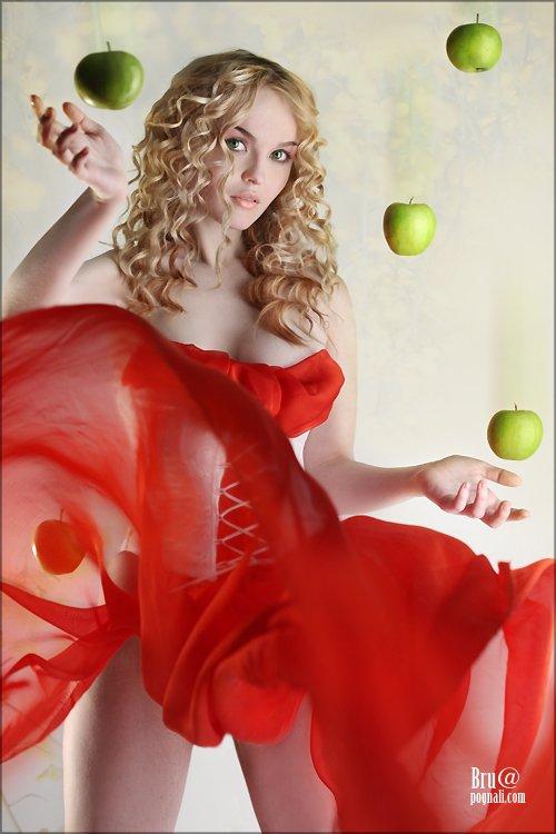 девушка, яблоко, Брушша